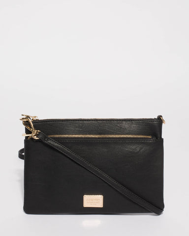 Black Demi Double Crossbody Bag With Gold Hardware