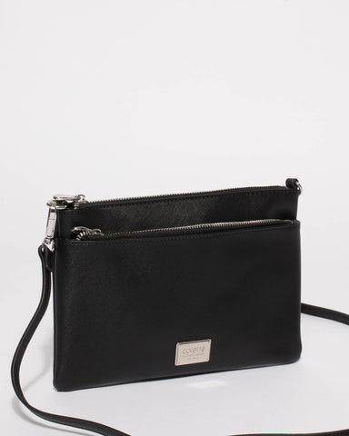 Black Demi Double Crossbody Bag With Silver Hardware