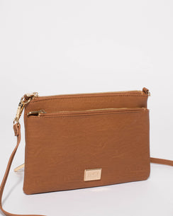 Tan Demi Double Crossbody Bag