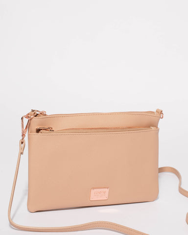 Beige Demi Double Crossbody Bag With Rose Gold Hardware
