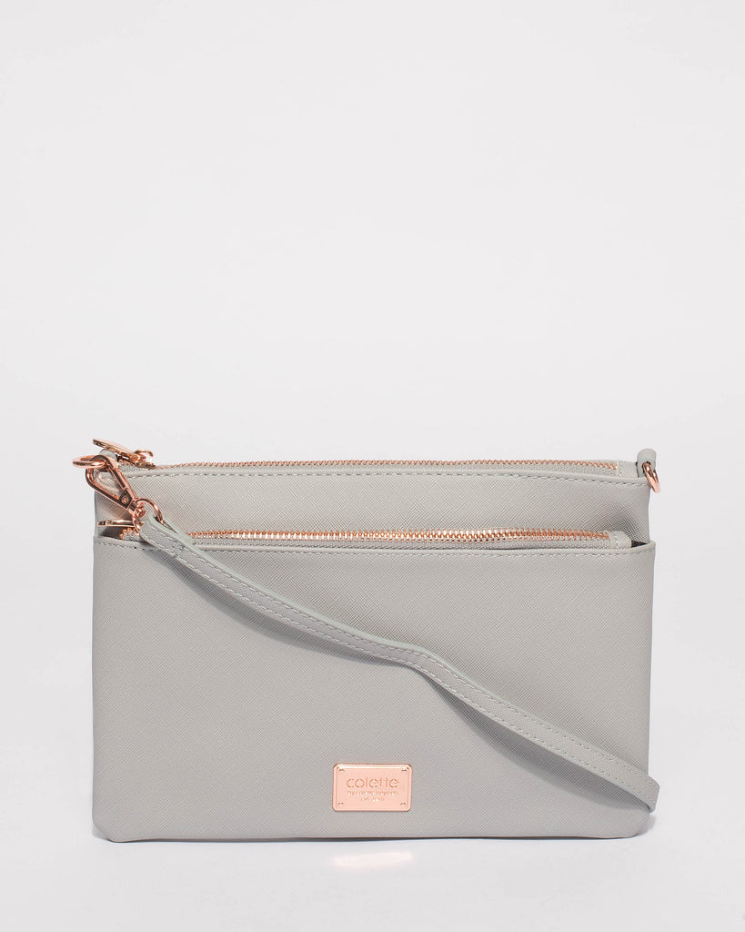 b2c672d129 Grey Demi Double Crossbody Bag With Rose Gold Hardware – Colette by ...