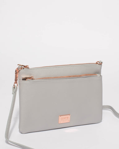Grey Demi Double Crossbody Bag With Rose Gold Hardware