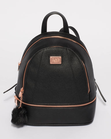 Black Bridget Medium Backpack With Rose Gold Hardware