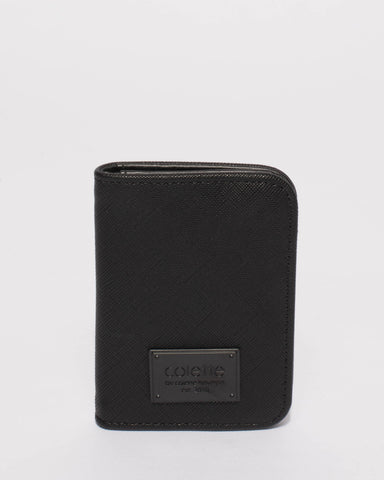 Matte Black Saffiano Credit Card Purse