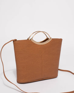 Tan Smooth Jessie Clutch Bag With Gold Hardware