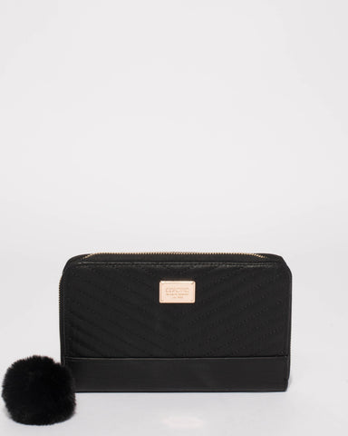 Black Nina Travel Wallet With Gold Hardware