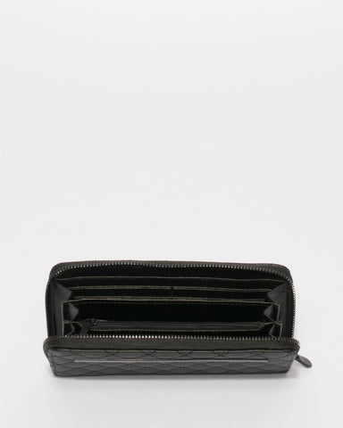 Black Nina Travel Wallet With Matte Black Hardware
