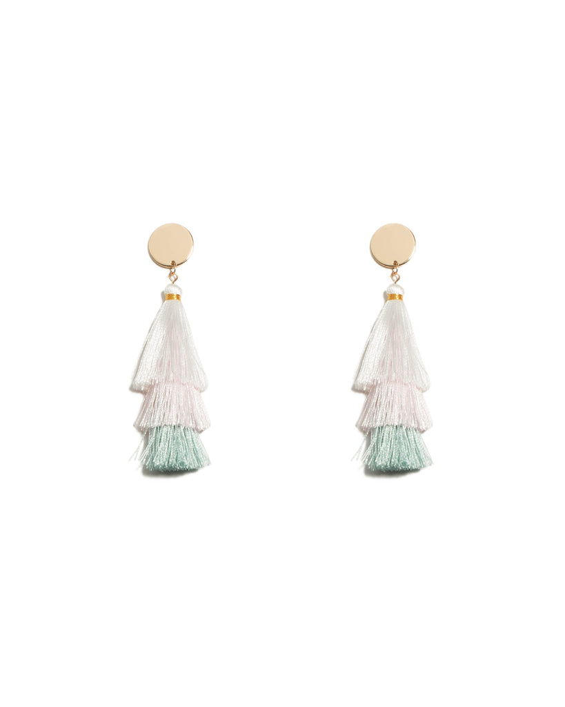 Multi Colour Gold Tone Three Layer Tassel Earrings