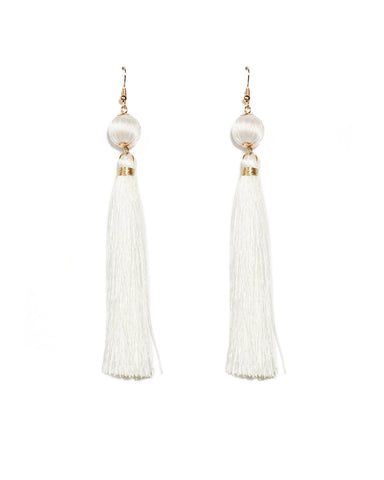 Ivory Tassel Drop Gold Earrings