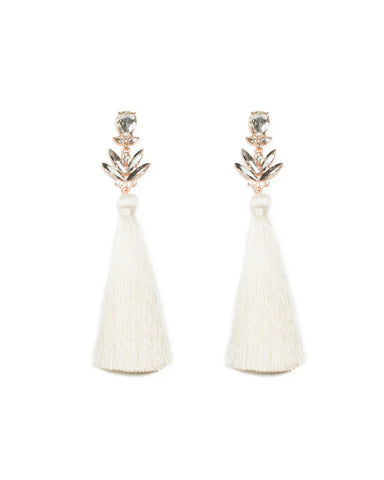 Teardrop Ivory long Tassel Statement Earrings