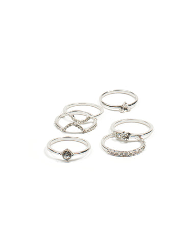 Silver Angle Diamante Ring Pack - Large
