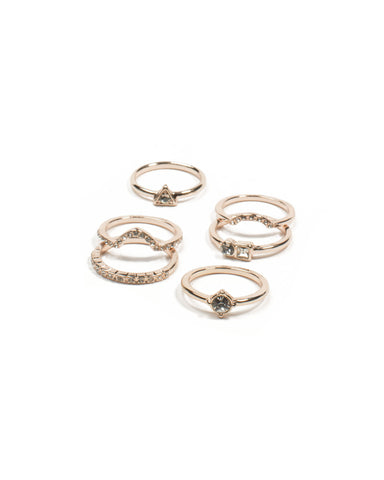 Rose Gold Angle Diamante Ring Pack - Large