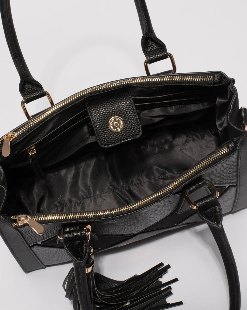 Black Dani Medium Panel Tote Bag