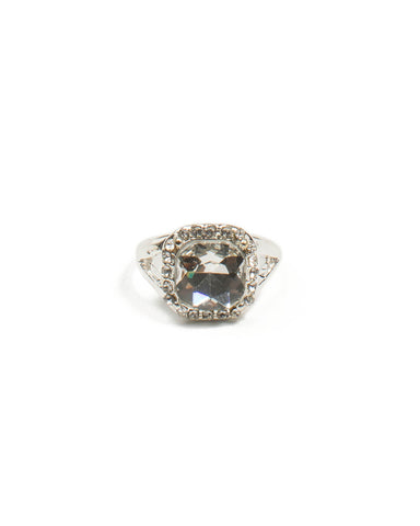 Silver Pave Edge Stone Ring - Large