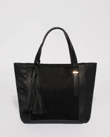 Black Arielle Large Soft Tote Bag