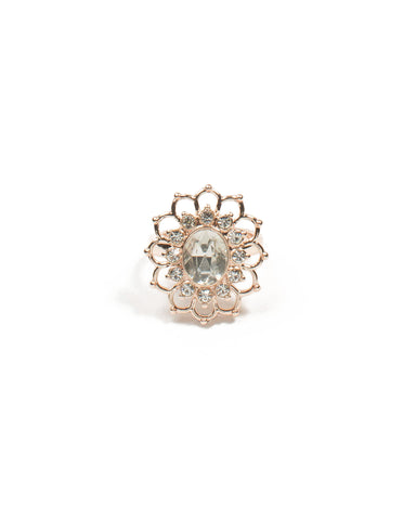 Rose Gold Flower Stone Cocktail Ring - Large