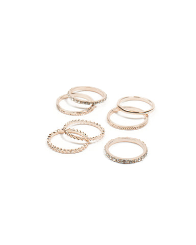 Rose Gold Diamante Band Ring Pack - Large