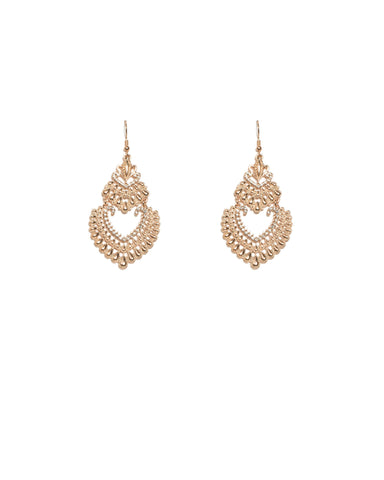 Teardrop Patterned Drop Rose Gold Earrings