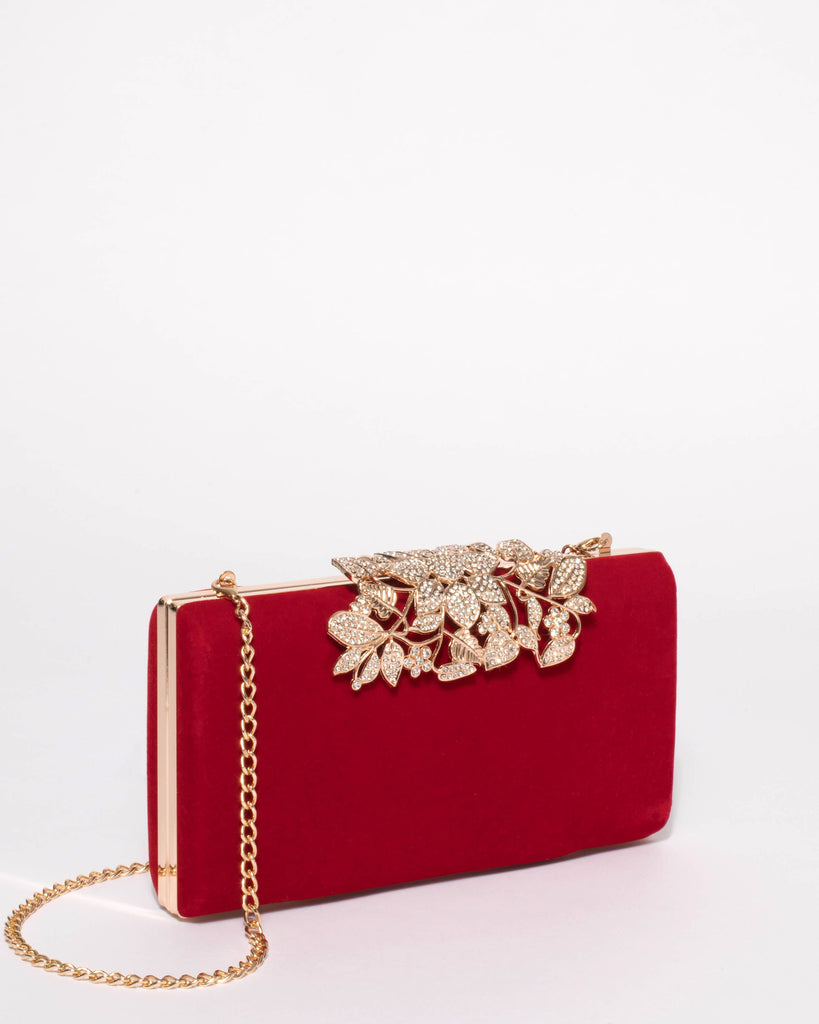 Red Velvet Floral Clip Clutch Bag