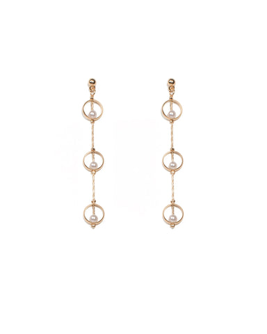 Pearl Gold Chain Drop Earrings