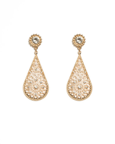 Round Stone Gold Filigree Drop Earrings