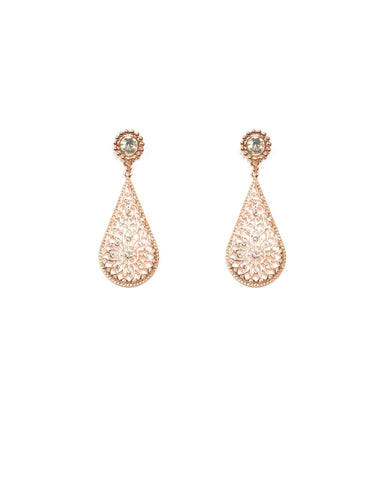 Round Stone Filigree Rose Gold Drop Earrings