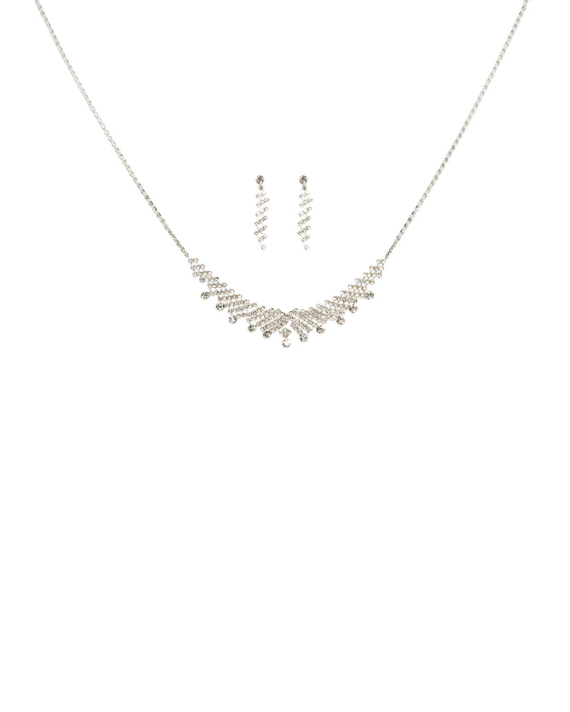 Diamante Cup Silver Chain Necklace And Earring Set