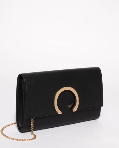 Black Jenna Hardware Clutch Bag With Gold Hardware