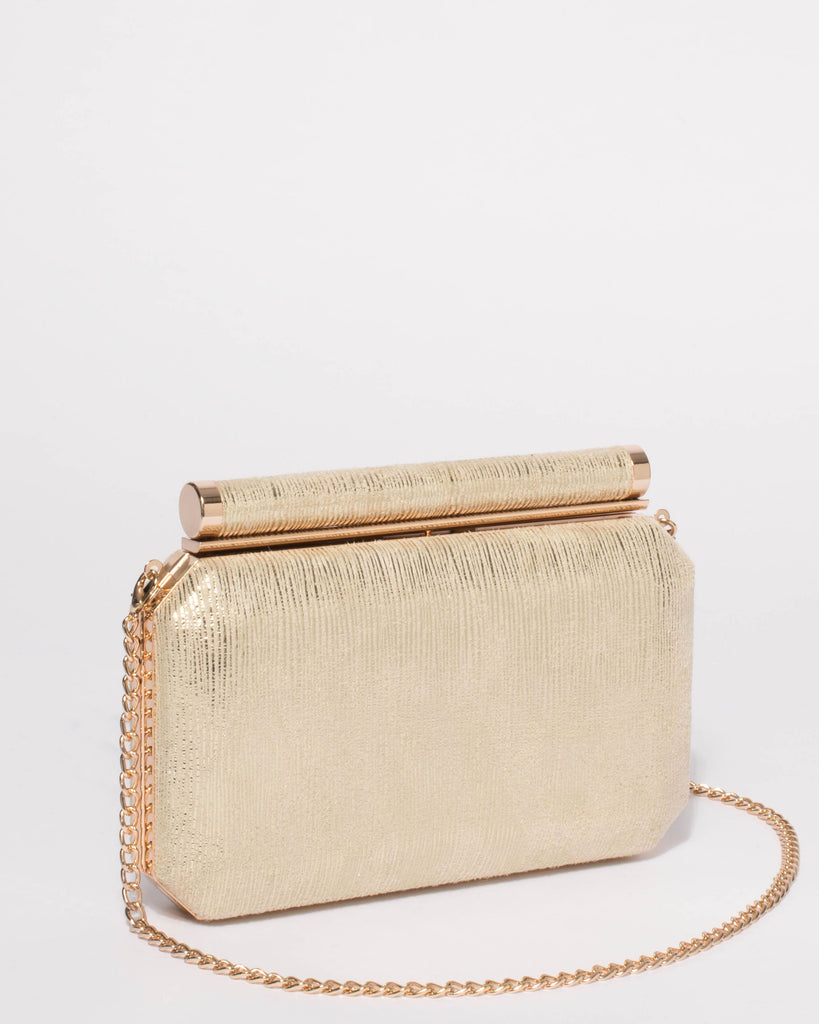 Alyssa Gold Hardcase Clutch Bag