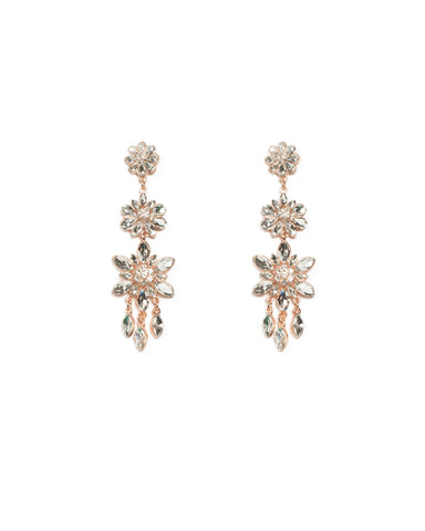 Flower Stone Tiered Rose Gold Drop Earrings