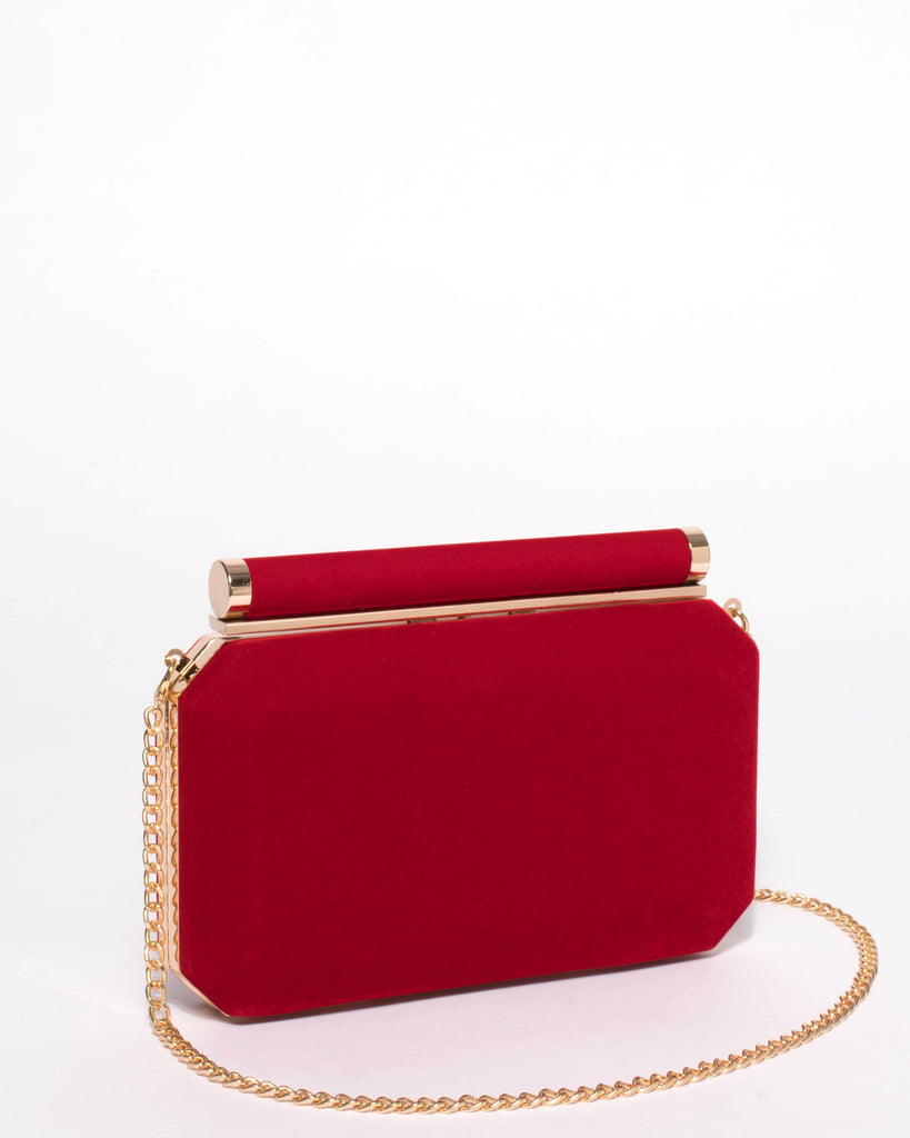 Alyssa Red Velvet Hardcase Clutch Bag