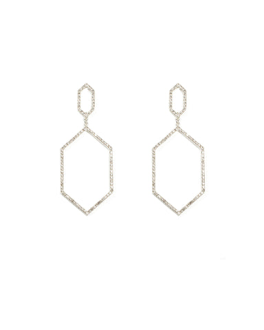 Fine Diamante Geometric Silver Drop Earrings