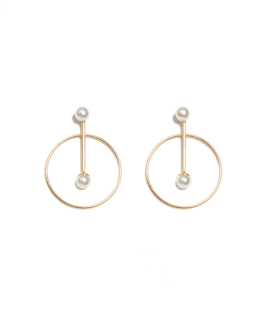 Geometric Gold Bar Circle Earrings