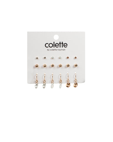 Diamante Ball Round Stone Gold Earring Pack