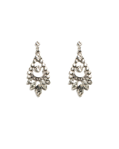Navette Silver Stone Drop Earrings