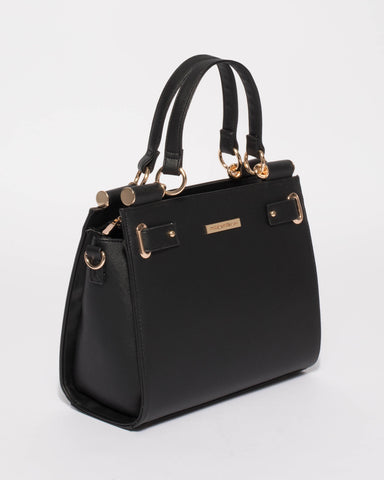 Black Stephanie Square Tote Bag With Gold Hardware