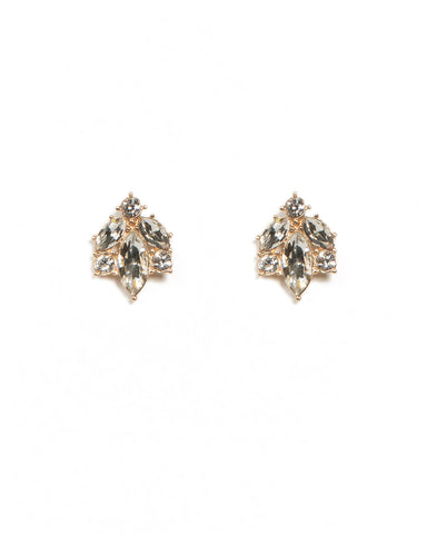 Navette Gold Stone Stud Earrings