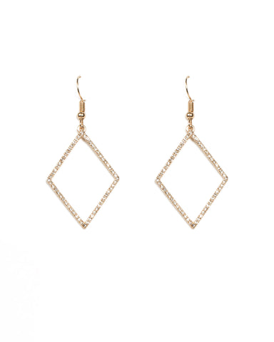 Fine Diamante Pave Drop Gold Earrings