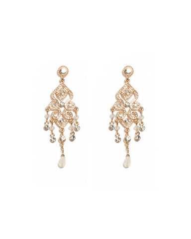 Crystal Gold Tone Diamante Pave Filigree Drop Earrings