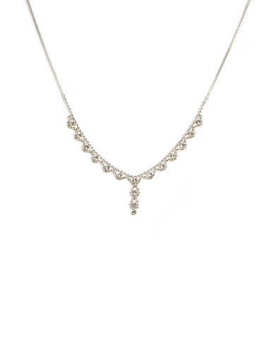 Crystal Silver Tone Round Stone Diamante Cup Chain Necklace
