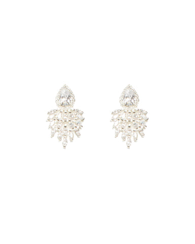 Cubic Zirconia Mini Marquise Silver Stone Stud Earrings
