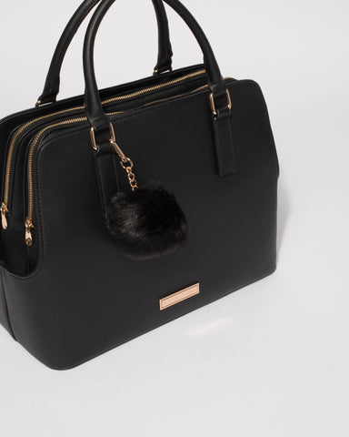 Black Saffiano Bonnie Large Tote Bag With Gold Hardware