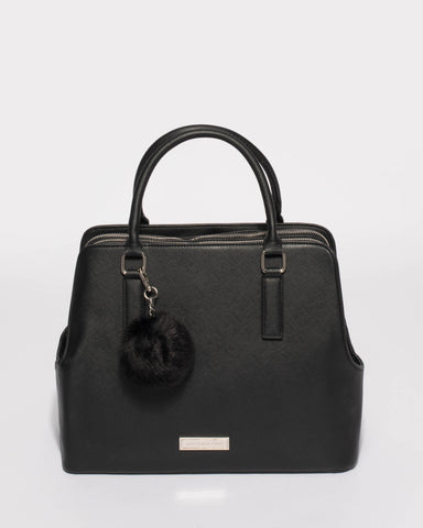 Black Saffiano Bonnie Large Tote Bag With Silver Hardware