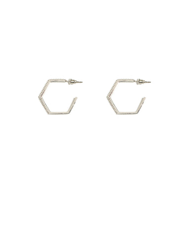 Cubic Zirconia Pave Hexagon Silver Hoop Earrings