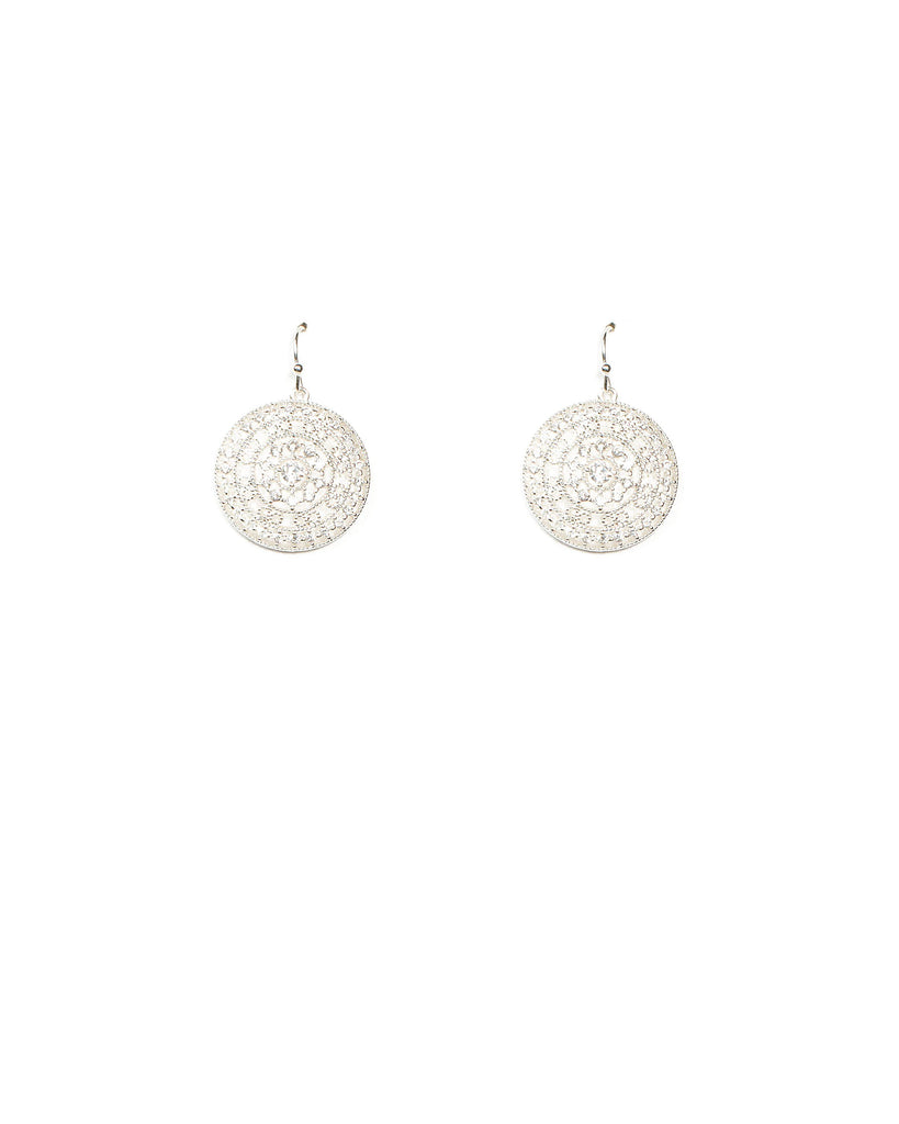 Cubic Zirconia Silver Filigree Circle Earrings