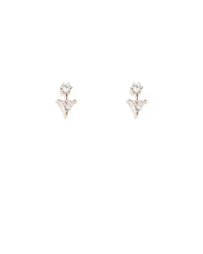 Cubic Zirconia Triangle Front Back Rose Gold Earrings