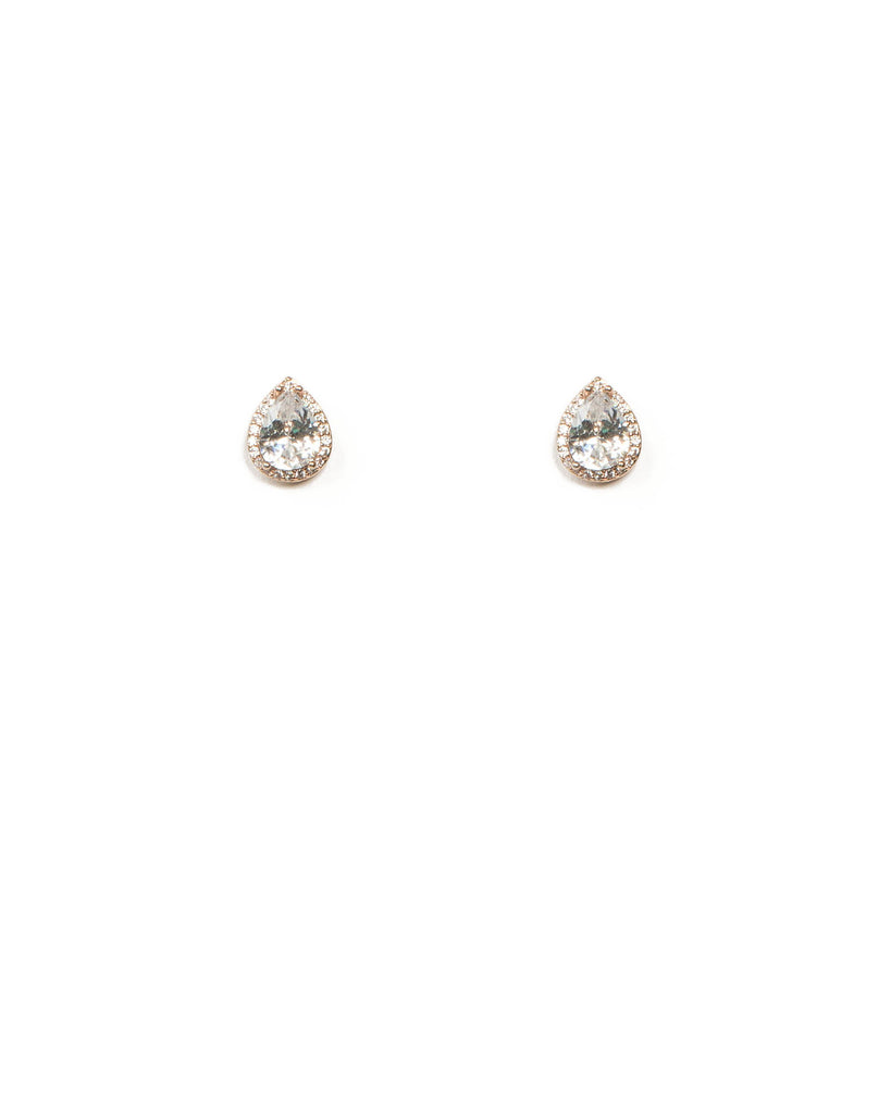 Cubic Zirconia Teardrop Rose Gold Halo Stud Earrings