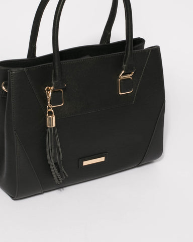Black Demi Tassel Tote Bag