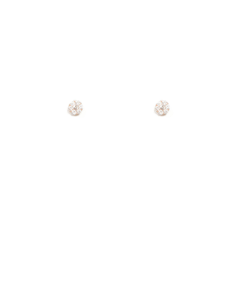Cubic Zirconia Mini Round Rose Gold Stud Earrings