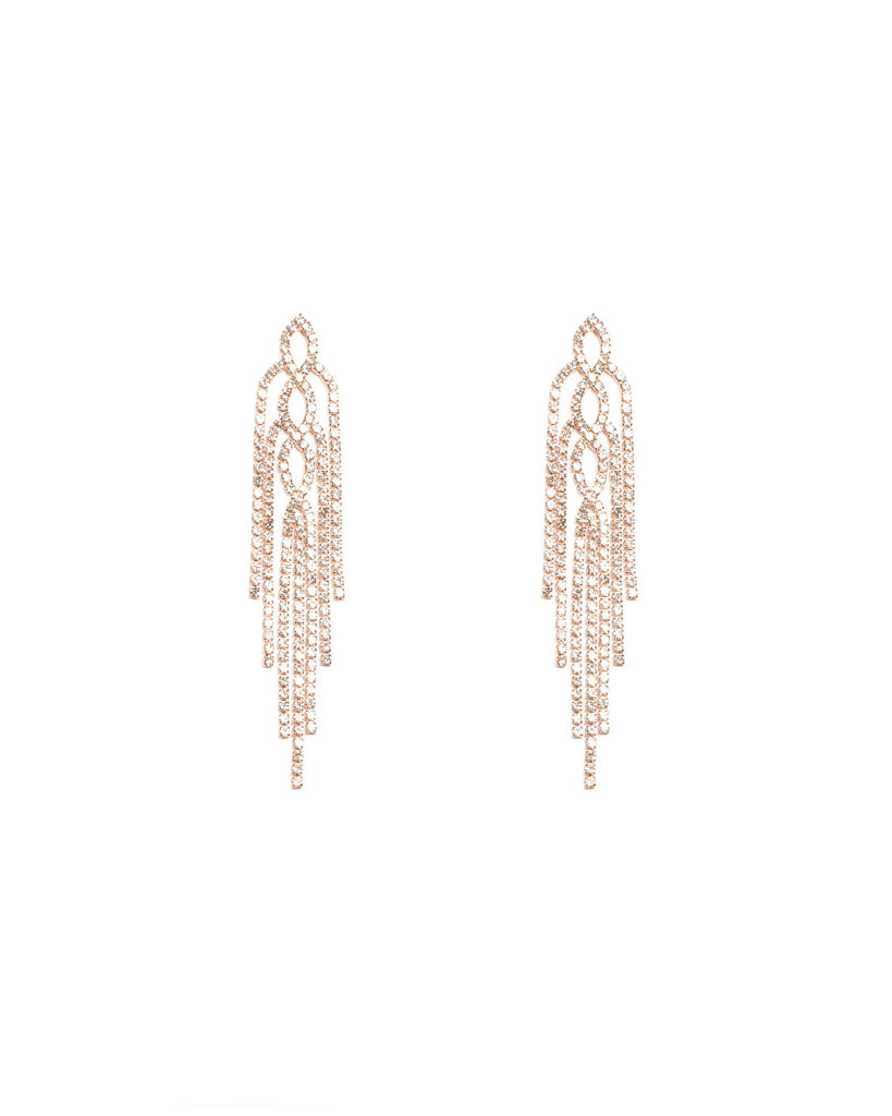 Diamante Cup Chain Tassel Rose Gold Statement Earrings